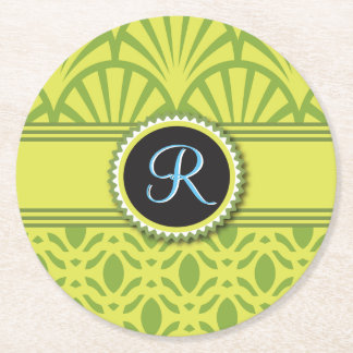 Art Deco Scalloped Pastel Lime Monogram Round Paper Coaster