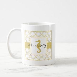Art Deco Seahorse Faux Gold Nautical Modern Coffee Mug