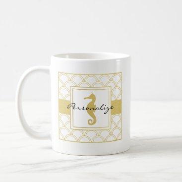 Beach Themed Art Deco Seahorse Faux Gold Nautical Modern Coffee Mug