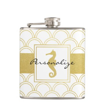 Beach Themed Art Deco Seahorse Faux Gold Nautical Vintage Flask
