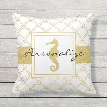 Beach Themed Art Deco Seahorse Faux Gold Vintage Outdoor Throw Pillow