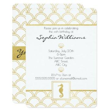 Beach Themed Art Deco Seahorse Gold Vintage Birthday Invitation