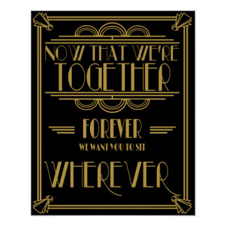 Art deco seat plan wedding sign poster