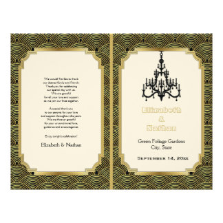 Art Deco seigaiha chandelier gold wedding program