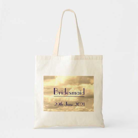 Art Deco Sepia Cloud Bridesmaid Tote Bag