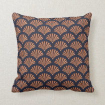Art Deco Shell Pattern Copper Throw Pillow