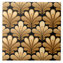 Art Deco Shell Pattern, Gold and Black Tile