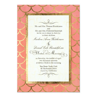 Art Deco Shell Pattern Gold Watercolor Wedding Card