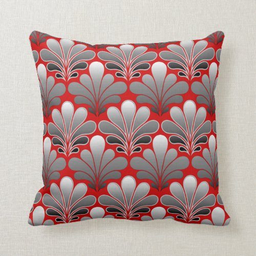 Art Deco Shell Pattern, Silver Gray / Grey and Red Throw Pillow