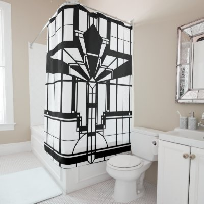 Elegant Shower Curtain   Art Deco Fan Black U0026 Green   Zazzle.com
