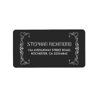 art deco silver wedding label