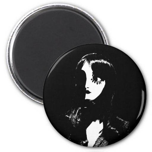 Art Deco - Sin City Style Woman - Black & White Refrigerator Magnets