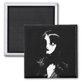Art Deco - Sin City Style Woman - Black & White Fridge Magnet
