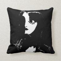 Art Deco - Sin City Style Woman - Black & White Throw Pillows