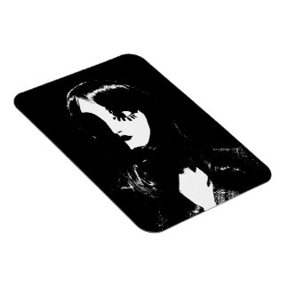 Art Deco - Sin City Style Woman - Black & White Rectangular Magnet