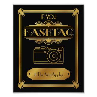 art deco, social media sign, wedding sign, hashtag photo print