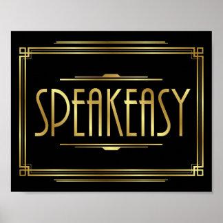 Art Deco SPEAKEASY Sign Print
