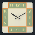 """Art Deco Square Clock<br><div class=""""desc"""">Art deco style clock with vintage deco font,  design,  and colors. The stylized,  geometric,  modern look of the 1920s and 1930s deco era is reproduced to add a touch of retro class to your wall.</div>"""
