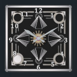 """Art Deco Square Wall Clock<br><div class=""""desc"""">With a nod to the art deco era,  your decor will display an elegance from days gone by. Bold,  striking colors will compliment many design tastes.</div>"""
