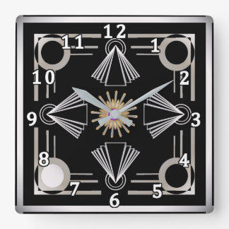 Exceptional Art Deco Square Wall Clock Part 16