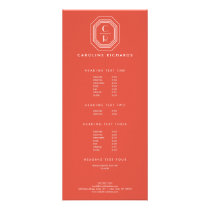 Art Deco Stacked Monogram Logo on Coral Rack Card