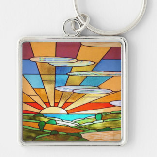 Art Deco Stained Glass 1 Key Chains