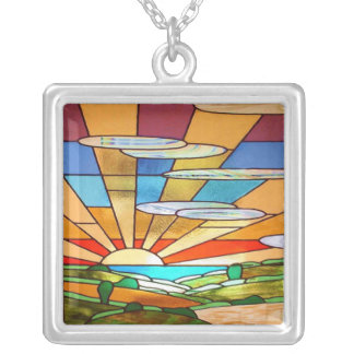 Art Deco Stained Glass 1 Silver Plated Necklace
