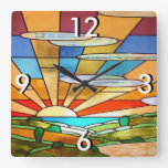 Art Deco Stained Glass 1 Square Wall Clock
