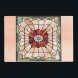 "Art Deco Stained Glass 2 Placemat<br><div class=""desc"">12"" x 18"" paper placemat with an image,  on both sides,  of Art Deco-style stained glass in hues of pink,  red,  blue and green. See matching cloth placemat,  kitchen towel,  cloth napkin,  paper cocktail napkin and coasters. See the entire Roaring 20s Placemat collection in the FOOD/BEV 