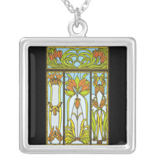 Art Deco Stained Glass Floral Necklace