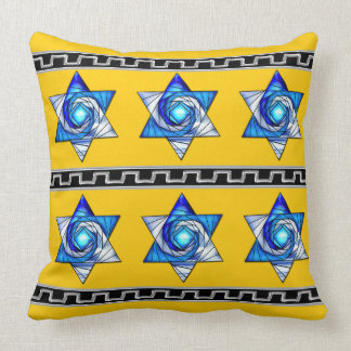 Art Deco Stained Glass Magen David Stripes Throw Pillow