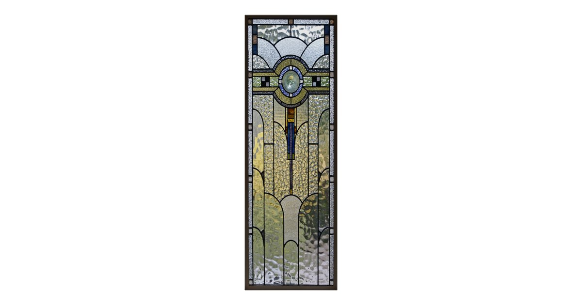 Art deco stained glass window poster from zazzle for Art deco glass windows