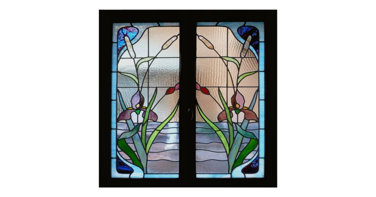 Art deco stained glass window poster sq from zazzle for Art deco glass windows