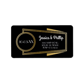 Art Deco Stickers Black Gold Address Labels