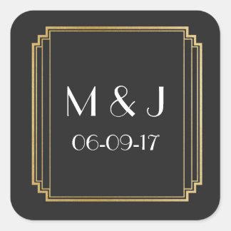 Art Deco Stickers Black Gold Square Favours