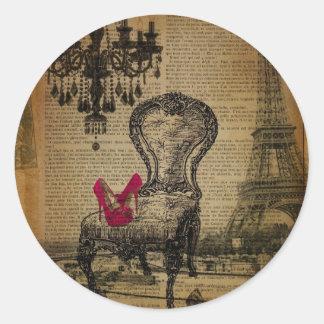 art deco stiletto paris eiffel tower classic round sticker