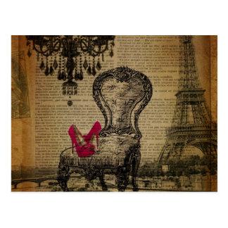 art deco stiletto paris eiffel tower postcard
