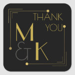 Art Deco Style 1920 Black Gold Thank You Sticker