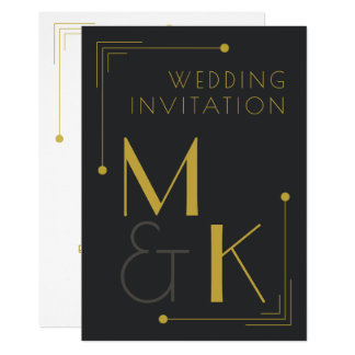 Art Deco Style 1920 Black Gold Wedding Invitations