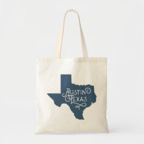 Art Deco Style Austin Texas Tote Bag - Blue