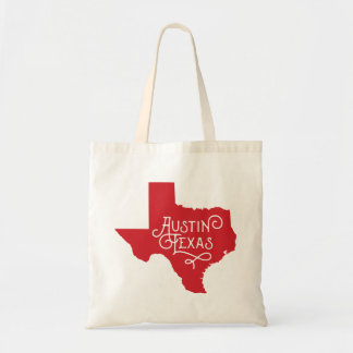 Art Deco Style Austin Texas Tote Bag - Red