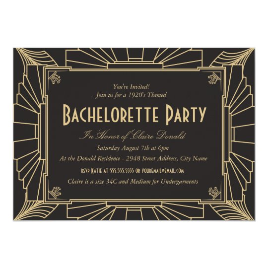 art deco style bachelorette party invitation zazzle com