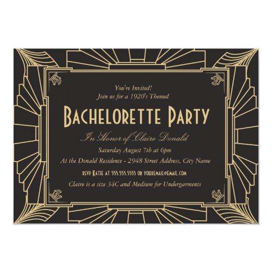 Art Deco Style Bachelorette Party Invitation