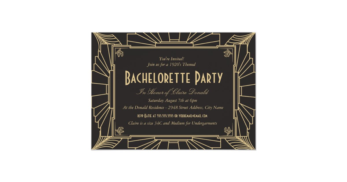 Art Deco Style Bachelorette Party Invitation – Art Deco Party Invitations