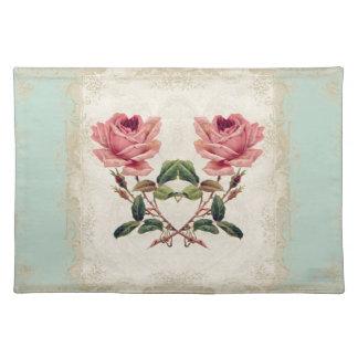 Art Deco Style Baroque Mint n Cream Vintage Lace Cloth Place Mat