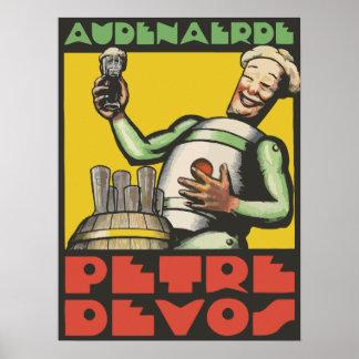 Art Deco style Belgian beer ad Poster