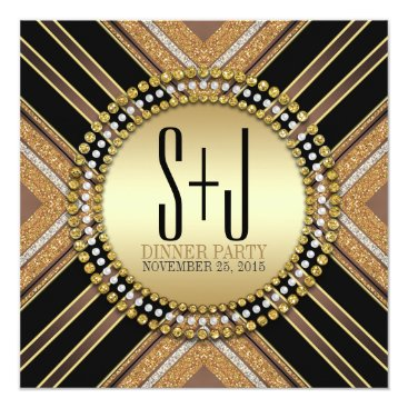 Aztec Themed Art Deco Style Black Gold Dinner Party Invitation