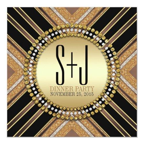 Art Deco Style Black Gold Dinner Party Invitation