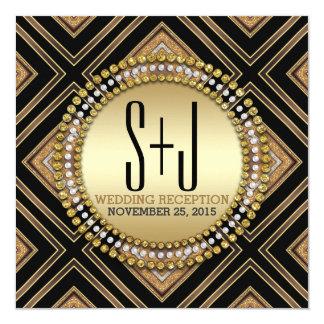 Art Deco Style Black Gold Wedding Reception Invite