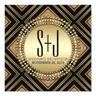 Aztec Themed Art Deco Style Black Gold Wedding Reception Invite